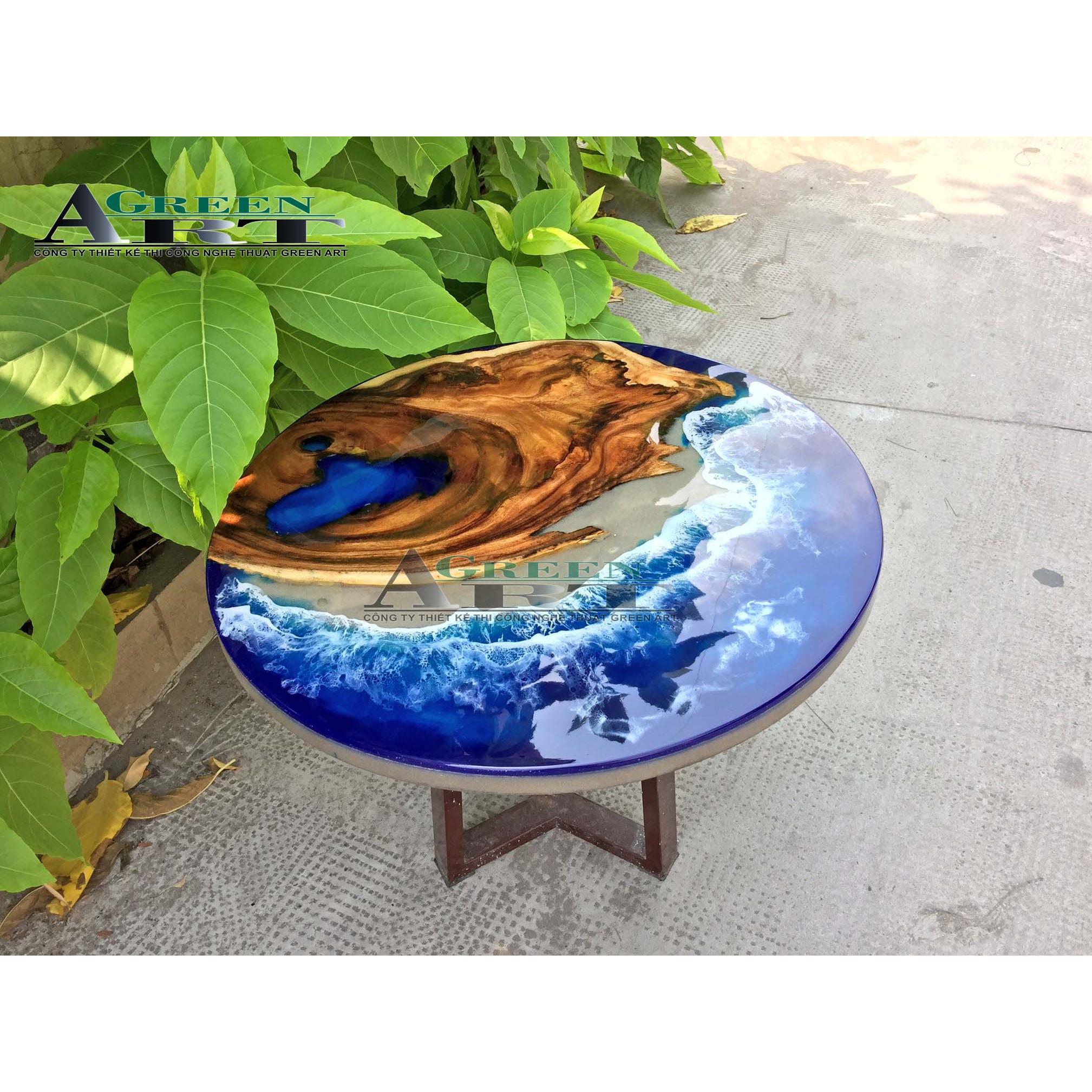 Bàn Gỗ Epoxy Bãi Biển đường kính 60 cm