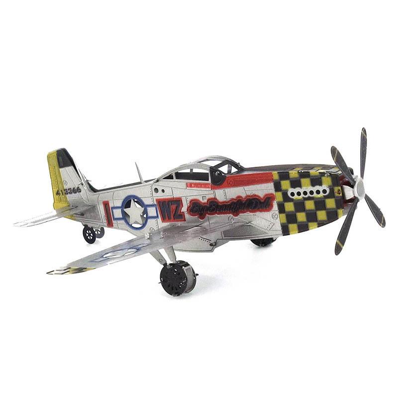 Mô hình thép 3D tự ráp máy bay P51 Mustang màu