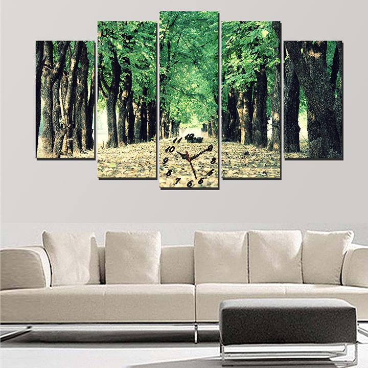 Tranh treo tường, tranh trang trí đồng hồ PP_ NT448 bộ 5 tấm ghép phong cảnh