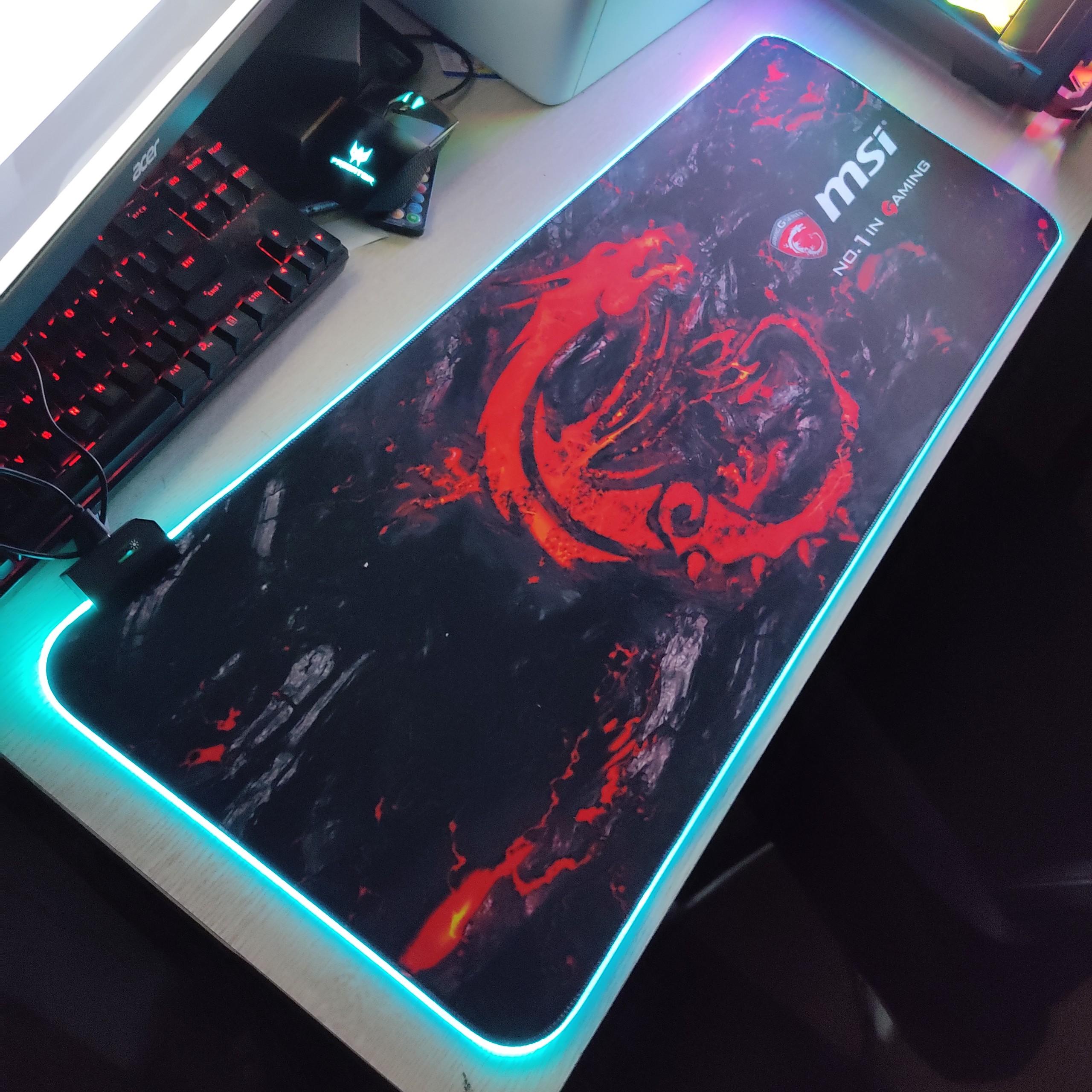 Mouse Pad, bàn di chuột, lót di chuột tích hợp Led RGB MSI sáng viền, kích thước 80cm x 30cm dày 4mm - Hàng nhập khẩu