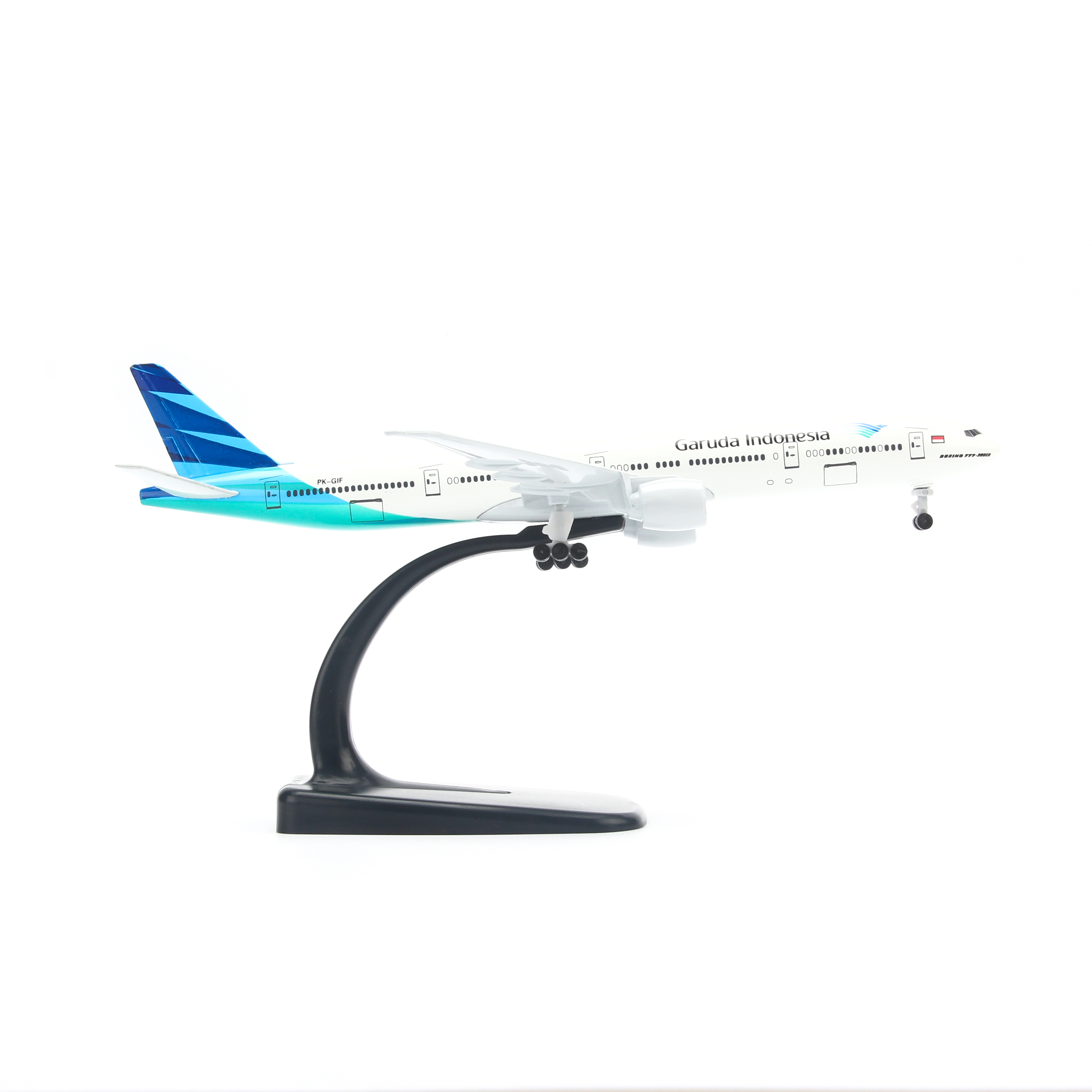 Mô hình máy bay Boeing777 Garuda Indonesia (20cm) ( Trắng Xanh,có bánh )