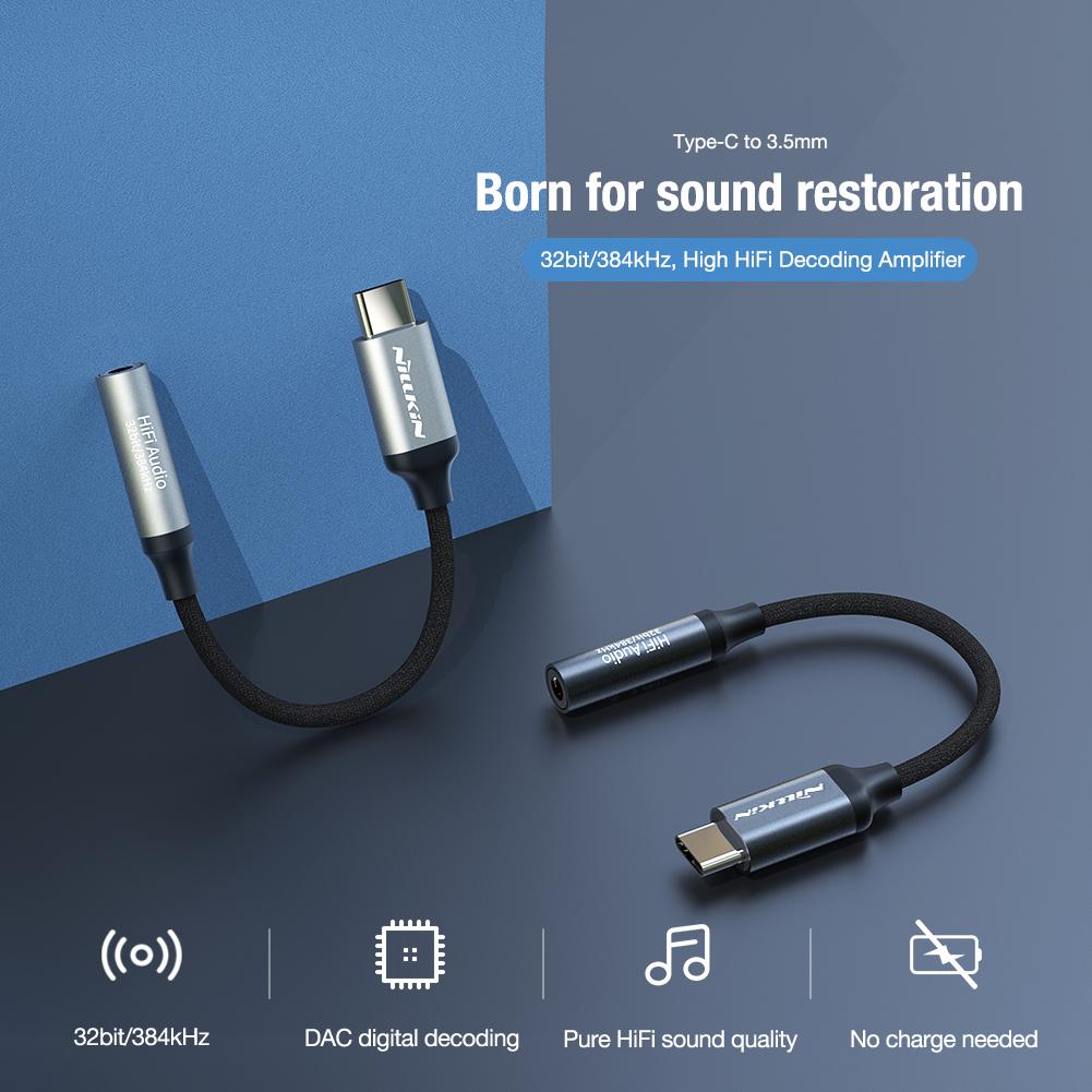 Đầu chuyển adapter Type-C sang jack tai nghe Audio 3.5mm hiệu Nillkin DAC Decoding Amplifier truyền tải âm thanh 32bit - hàng chính hãng