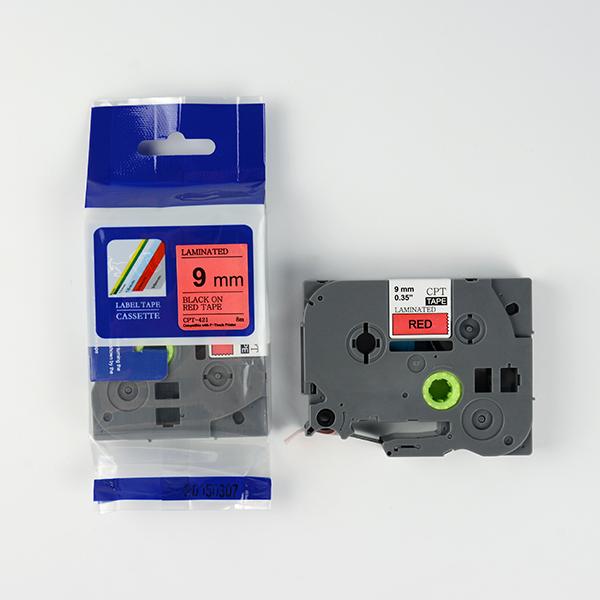 Tape nhãn in tương thích CPT-421 dùng cho máy in nhãn Brother P-Touch (chữ đen nền đỏ, 9mm)