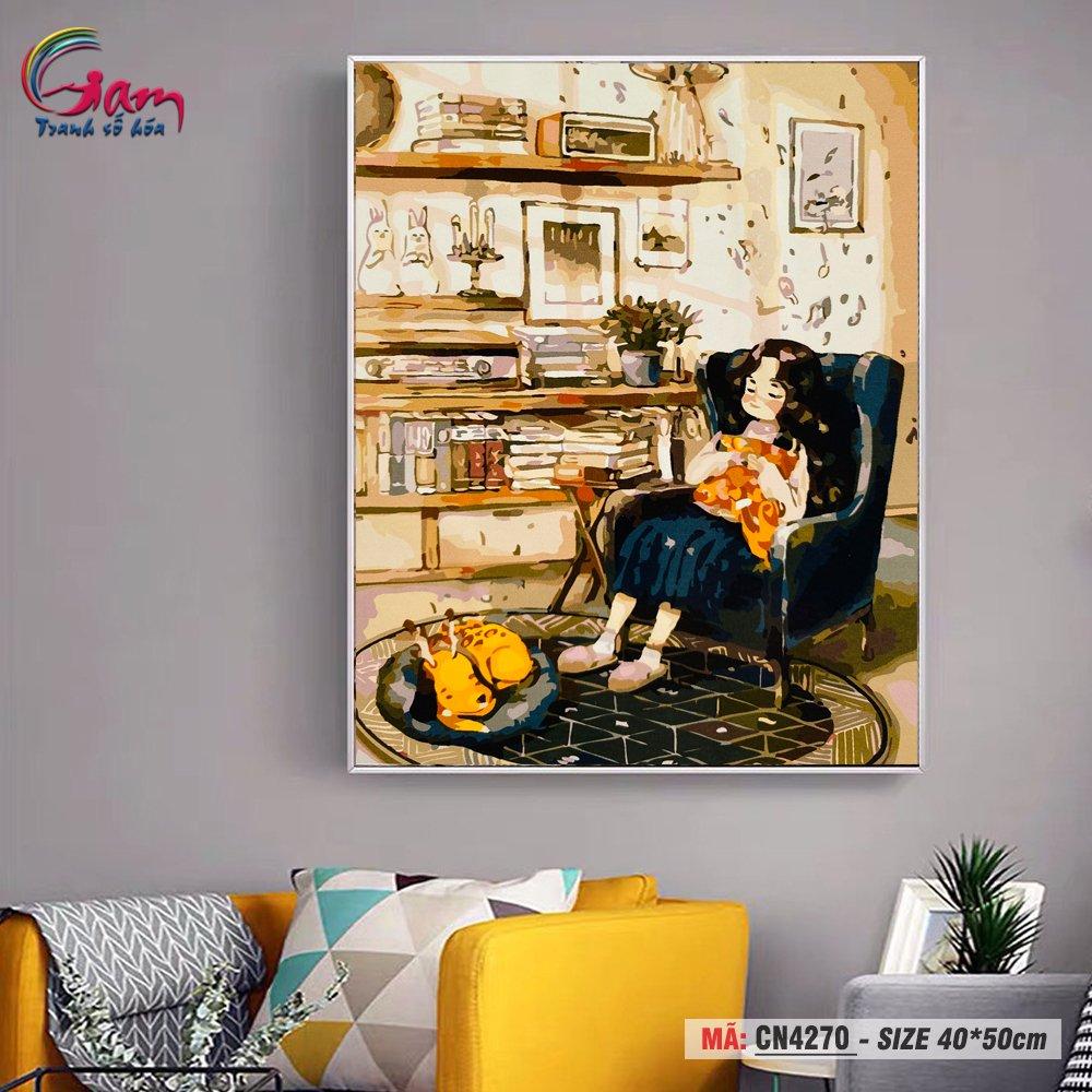 Tranh tô màu số hóa Gam treo tường trang trí cô bé thư giãn CN4270