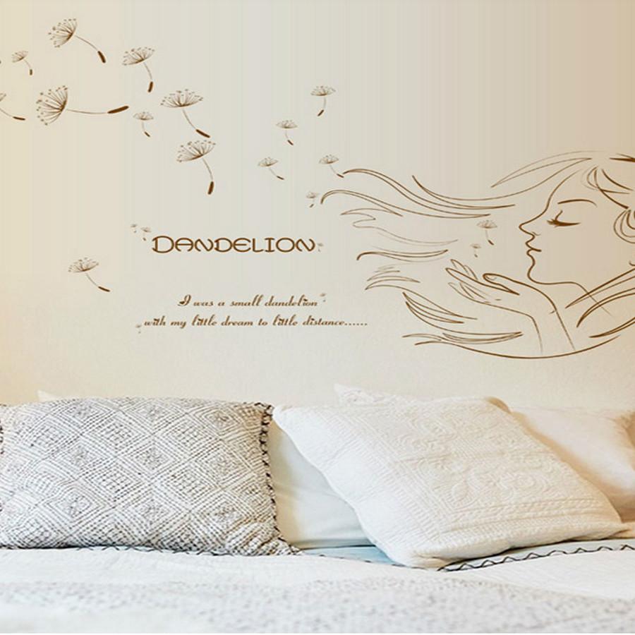 decal dán tường cô gái dandelion nâu