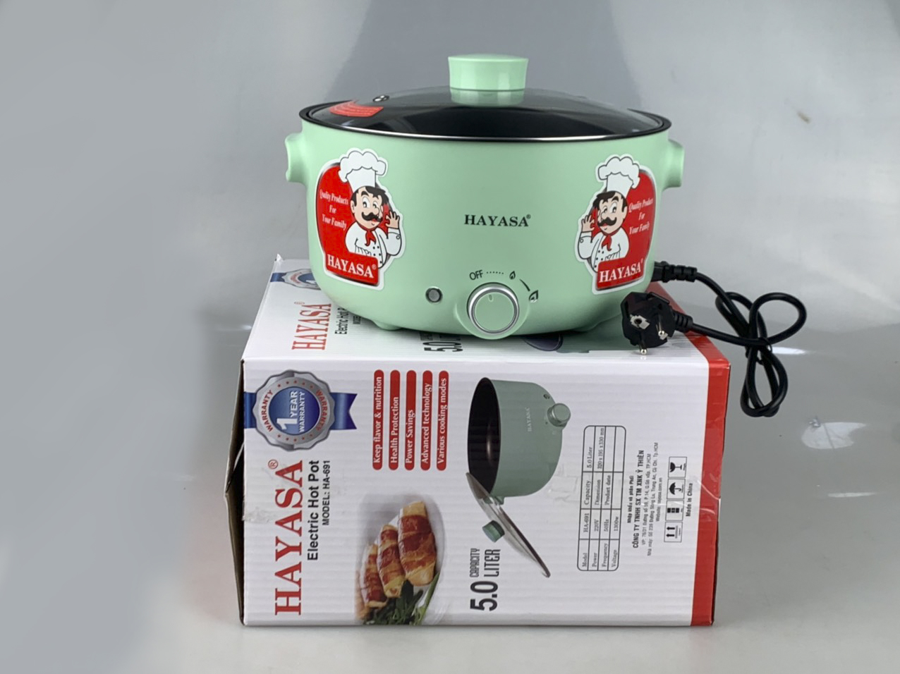 Nồi Lẩu Điện 5L Hayasa Ha-691 Đa Năng Chống Dính Công Suất 1300W Nấu Lẩu,Nấu Mì,Chiên,Xào,Nấu Thức Ăn-Hàng Chính Hãng