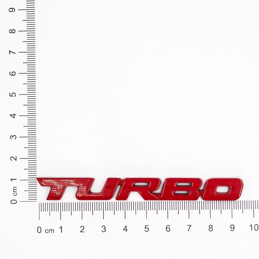 Sticker hình dán metal 3D Turbo đỏ 9.7x1.1cm