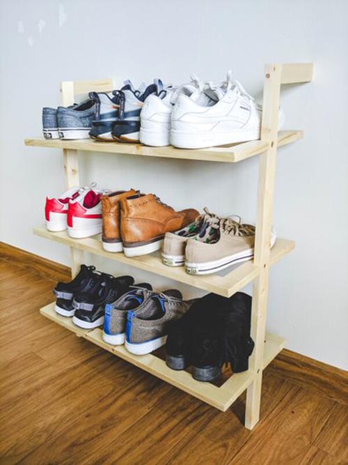 Kệ gỗ để giày 3 tầng kiểu Nhật / Tủ giày dép gỗ thông cao 85cm