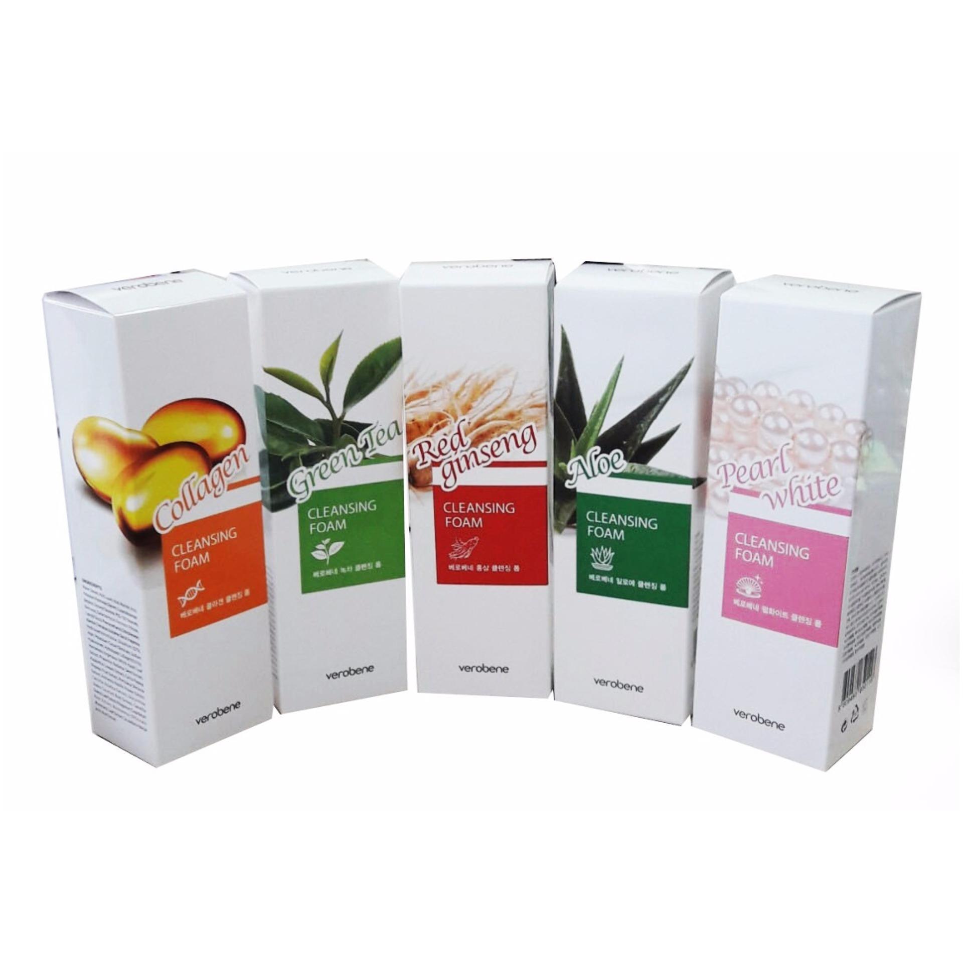 Combo 1 Sữa Rửa Mặt Ngừa Nám, Tàn Nhang Collagen Verobene Hàn quốc 150ml/Hộp Kèm 1 Mặt Nạ Collagen Benew 20ml/Gói