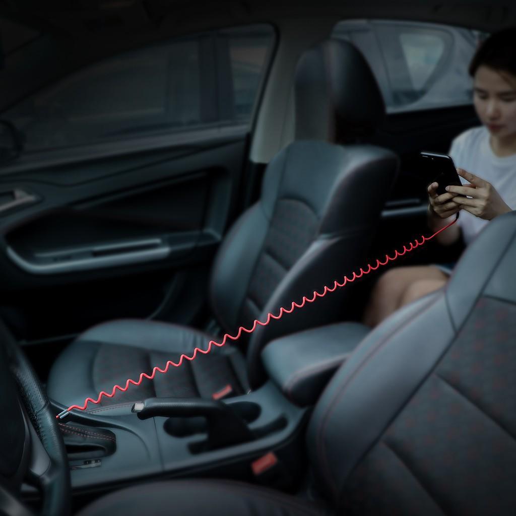 Cáp dây xoắn Baseus Lightning  Fish Eye Spring Data dùng cho iPhone / iPad - Cáp sạc nhanh 2.4A Max, dài 1m- Hàng Chính Hãng