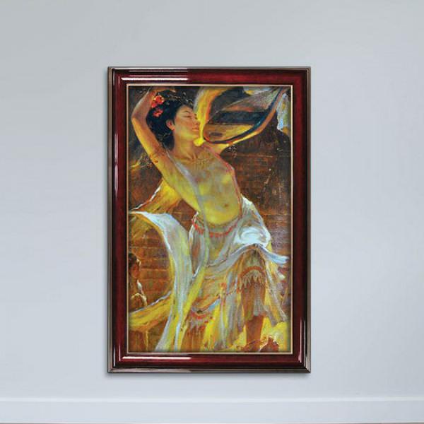 Tranh Cô Gái Và Cây Đàn Phong Cách Sơn Dầu Canvas W1159