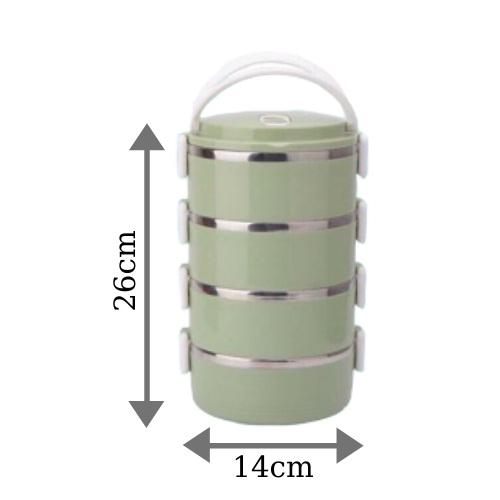 Hộp cơm giữ nhiệt 4 tầng lúa mạch cao cấp dung tích 2800ml – Giao màu ngẫu nhiên
