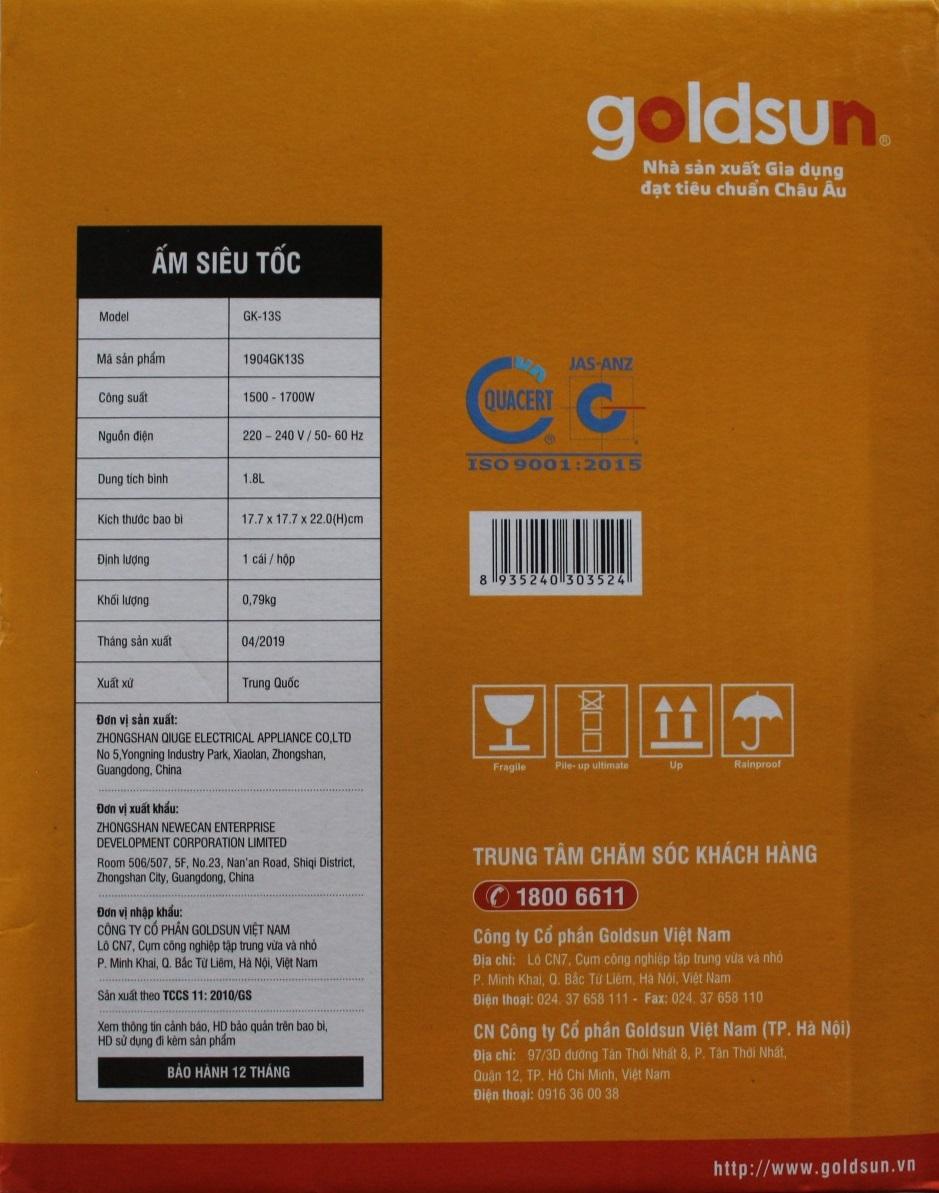 Bình Ấm Điện Siêu Tốc Inox Goldsun GK-13S (1,8 lít) - Chính Hãng