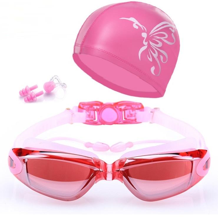 Bộ kính bơi mắt tráng GƯƠNG  6615 - gồm MŨ BƠI, Bịt tai kẹp mũi cao cấp.