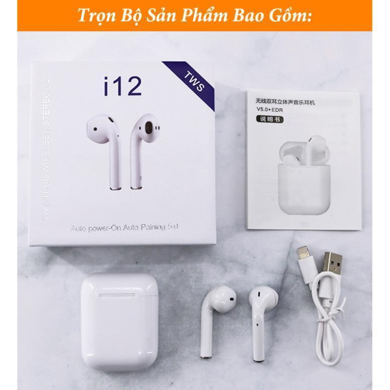 Tai Nghe i12 TWS Bluetooth 5.0 True wireless -chuyên Gaming -dành cho IPhone va android