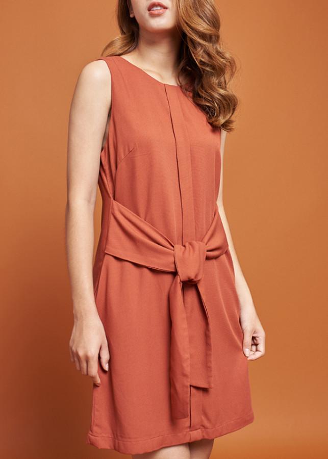 Đầm Nữ Suông Phối Thắt Nơ Mint Basic 21451OR - Cà Rốt Size L