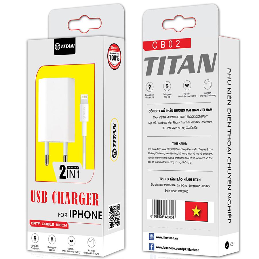 Bộ cốc và cáp sạc nhanh cho IPhone, IPad TITAN CB02 - Hàng chính hãng