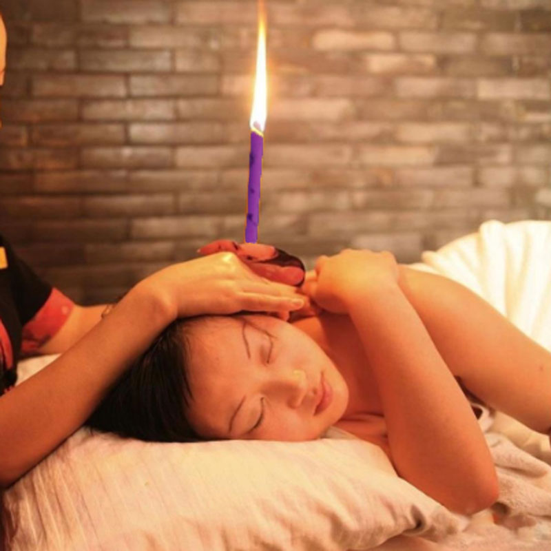 2PCS Natural Ear Candling Therapy Straight Ear Care & Ear Candle Coffee - Purple