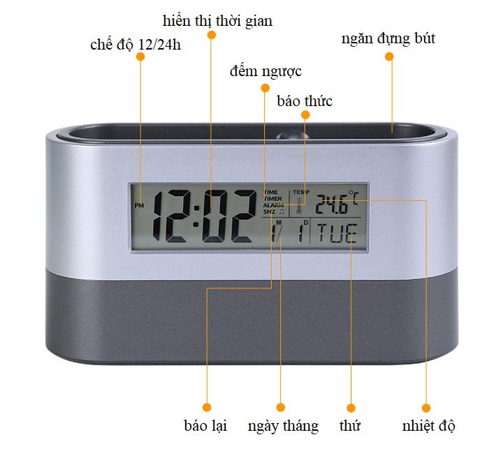 Đồng hồ để bàn kiêm hộp đựng bút đa năng ( Tặng kèm 01 đèn led cắm cổng USB ngẫu nhiên )