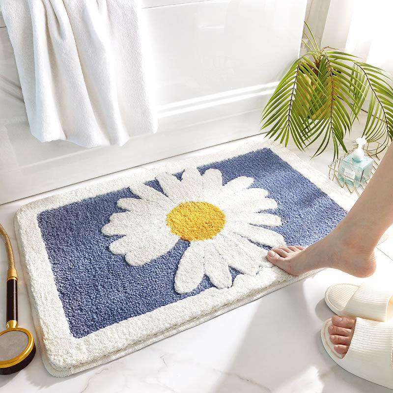 Thảm Lau Chân Len Siêu Thấm Hình Hoa Cúc Trang Trí Cửa Ra Vào