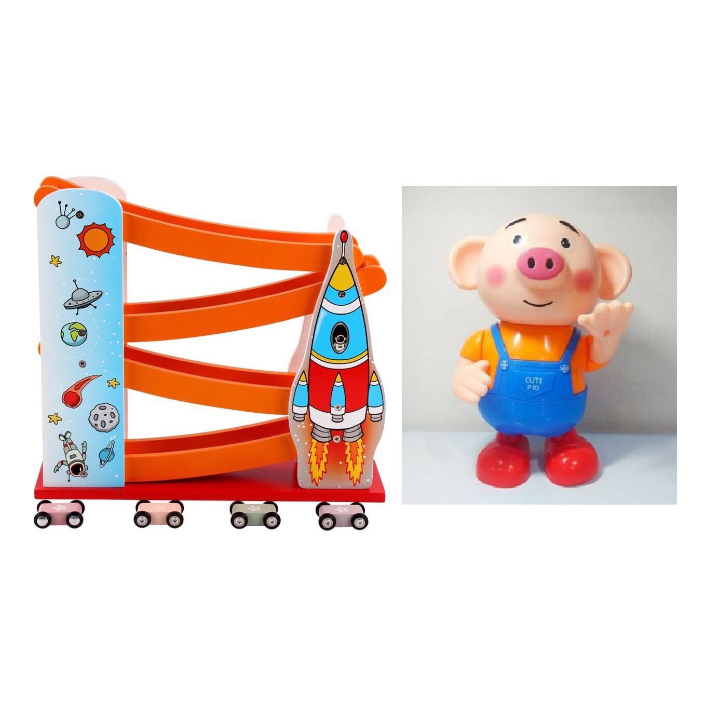 Combo bộ đồ chơi chú heo biết nhảy biết hát và 01 cầu trượt ô tô bằng gỗ tự nhiên