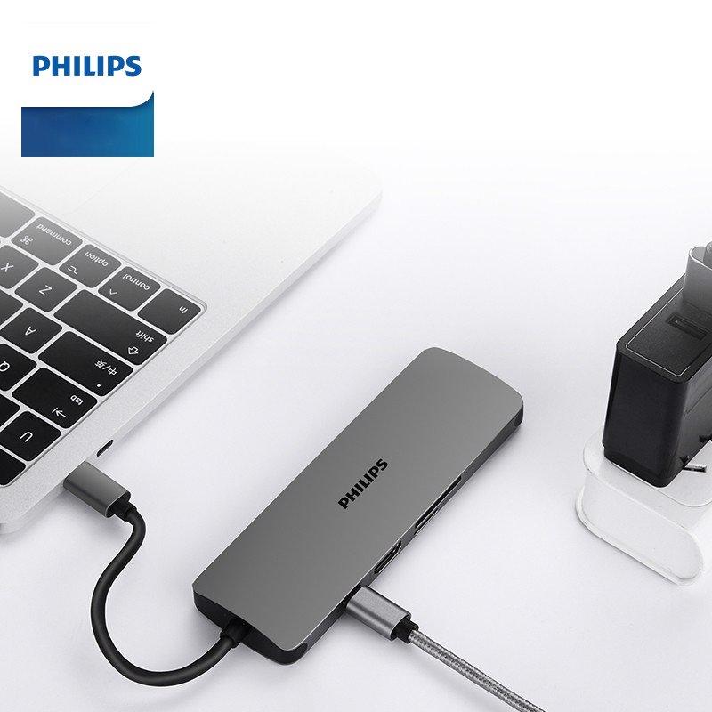 Hub / Bộ chuyển đổi USB-C 8in1 LAN, HDMI4k, SD, MicroSD Philips Có Dây - Hàng chính hãng