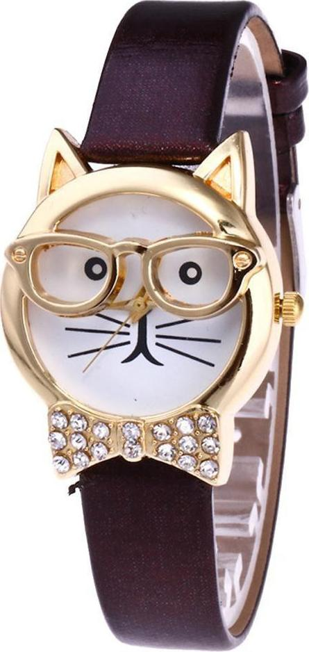 Đồng hồ nữ dây da hình mặt mèo đeo kiếng dễ thương - cà phê