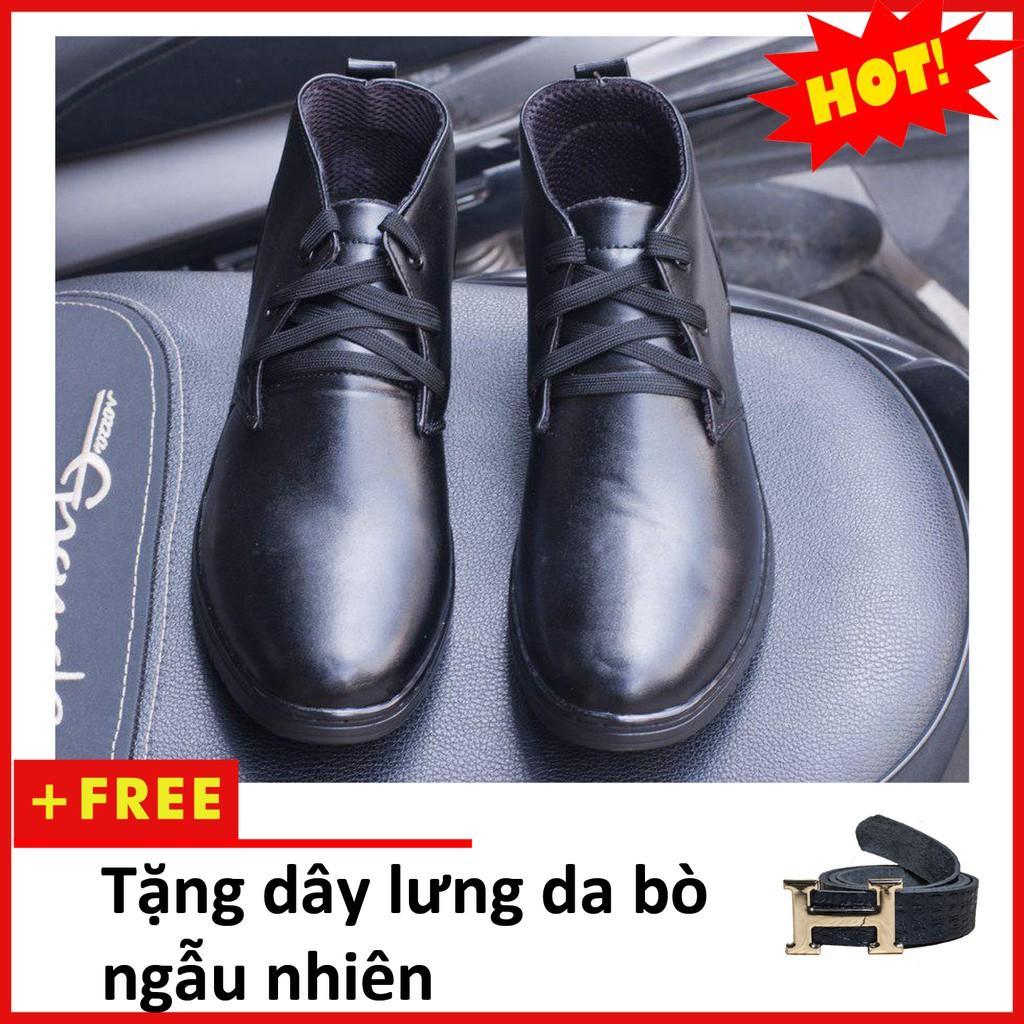Giày Boot Nam Cổ Lửng Màu Đen Da Nhám Đế Khâu Chắc Chắn - M443-DENNHAM(TL)-DENNHAM