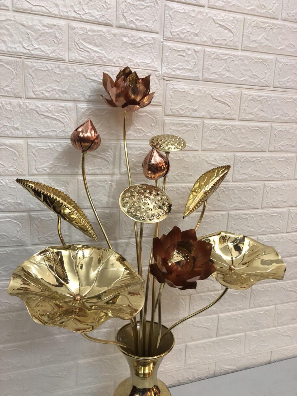 đồ thờ cúng bằng đồng  ( hoa sen hồng bằng đồng) comboo cả lọ hoa đồng