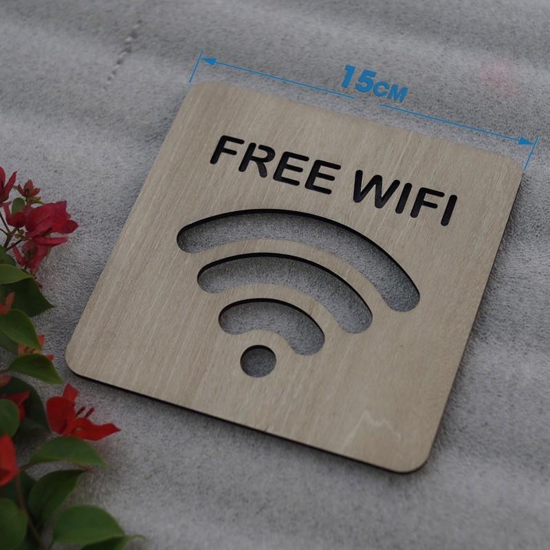 Bảng Gỗ Decor Quán Free Wifi trang trí cao cấp hiện đại