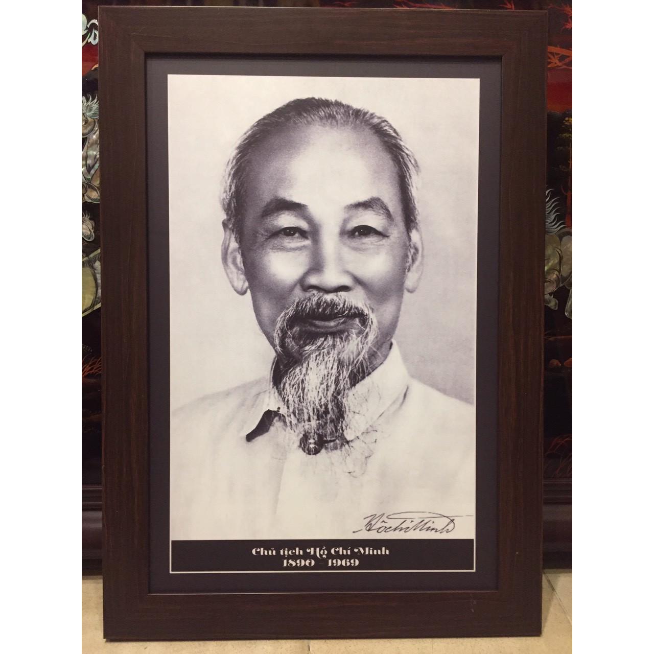 Ảnh  in đen trắng, Chủ tịch Hồ Chí Minh - B08 (48*68cm)