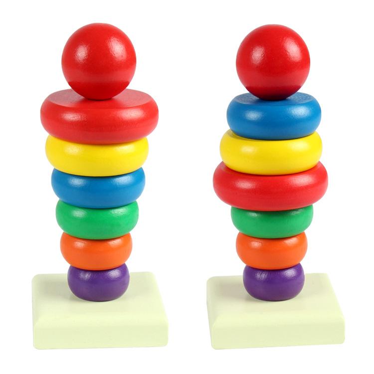 Tháp màu cầu vồng gỗ giúp bé nhận biết màu sắc, kích cỡ - Loại lớn -totdepreHG1019