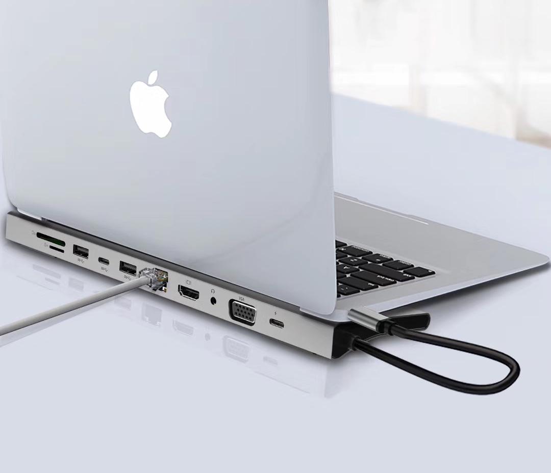 Hub USB Type-C 11in1 đa chức năng HDMI/ VGA/ RJ45/ PD/ USB/ TF/ SD - UTH111160