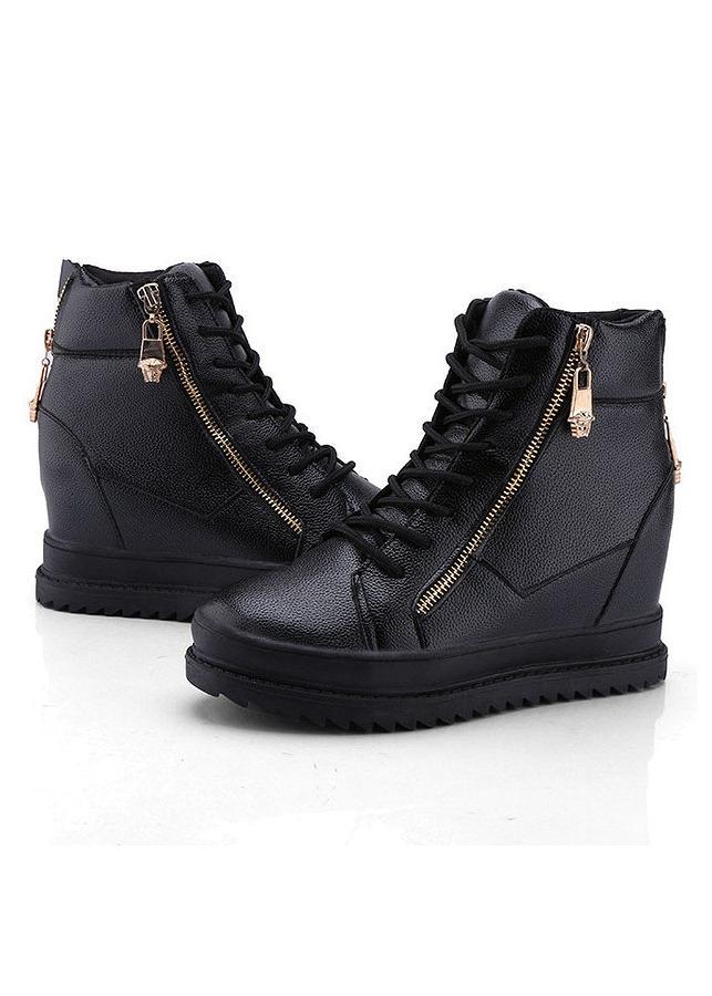 Giày boot nữ cổ cao đế độn cá tính 042BD (Đen)