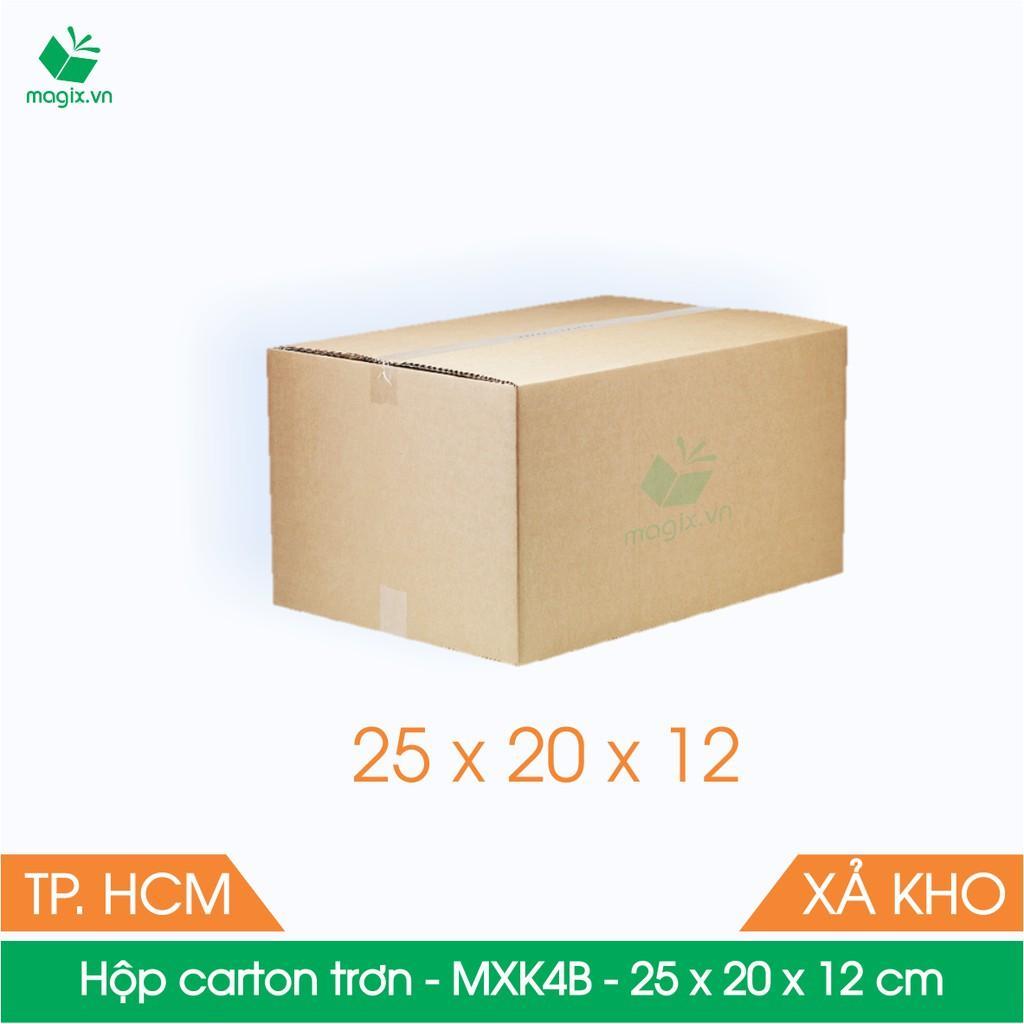 MXK4B - 25x20x12 cm - 100 Thùng hộp carton trơn đóng hàng