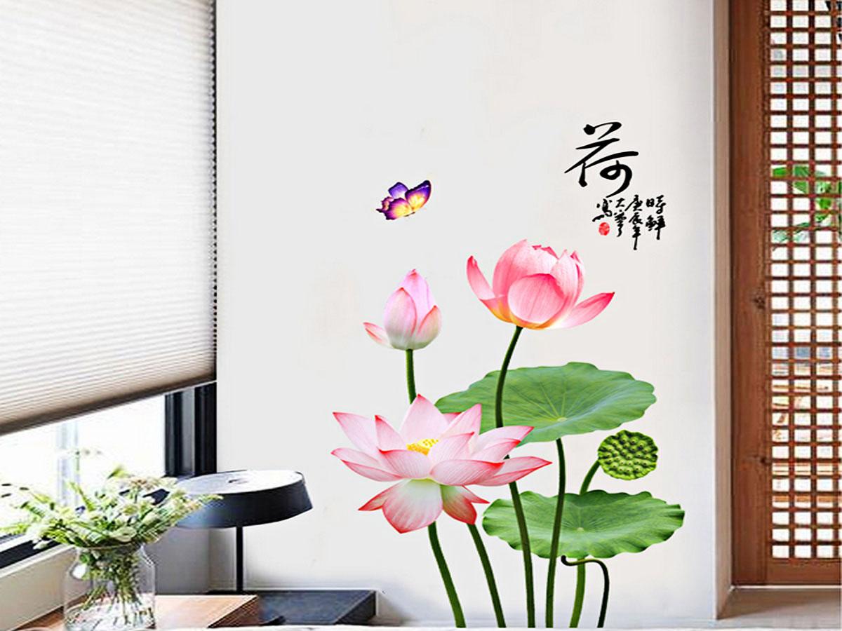 decal dán tường hoa sen hồng lá xanh gs9663