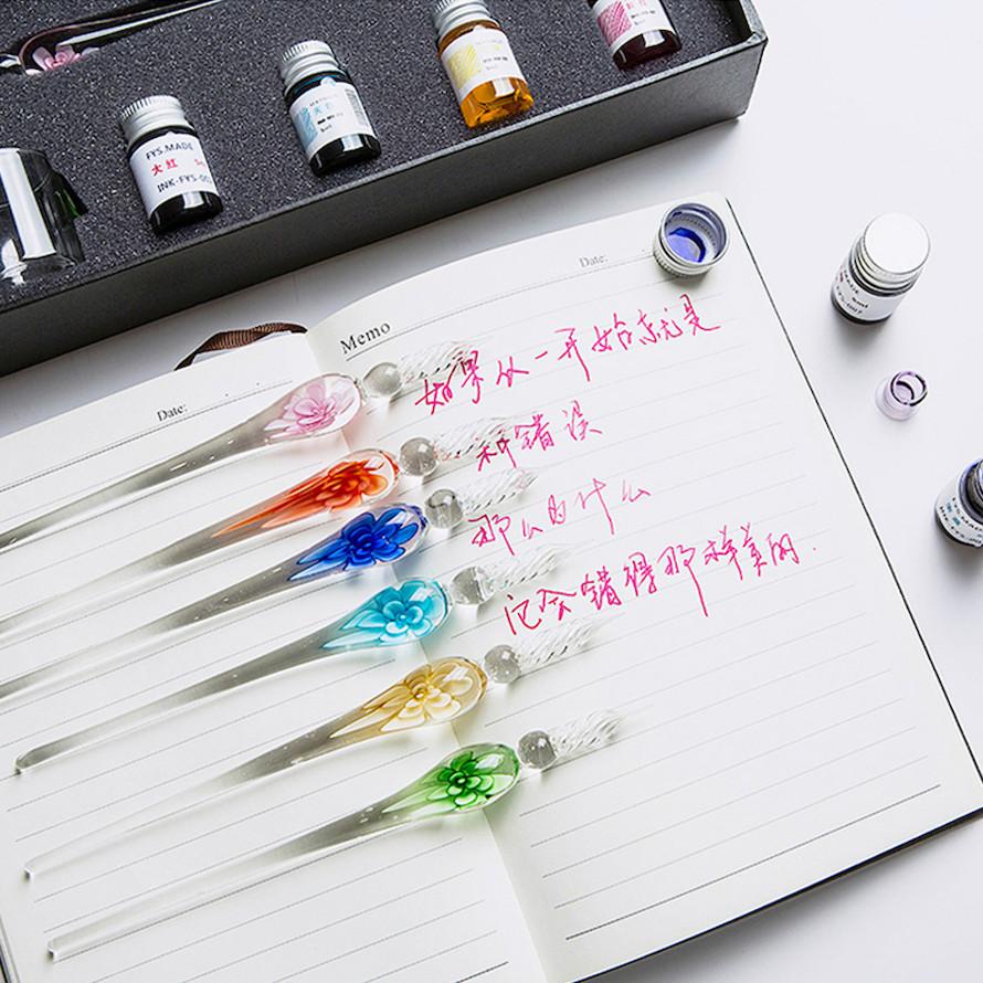 Bút pha lê chuyên dụng viết thư pháp, tiếng Trung, tiếng Hàn, tiếng Nhật - Da Cam