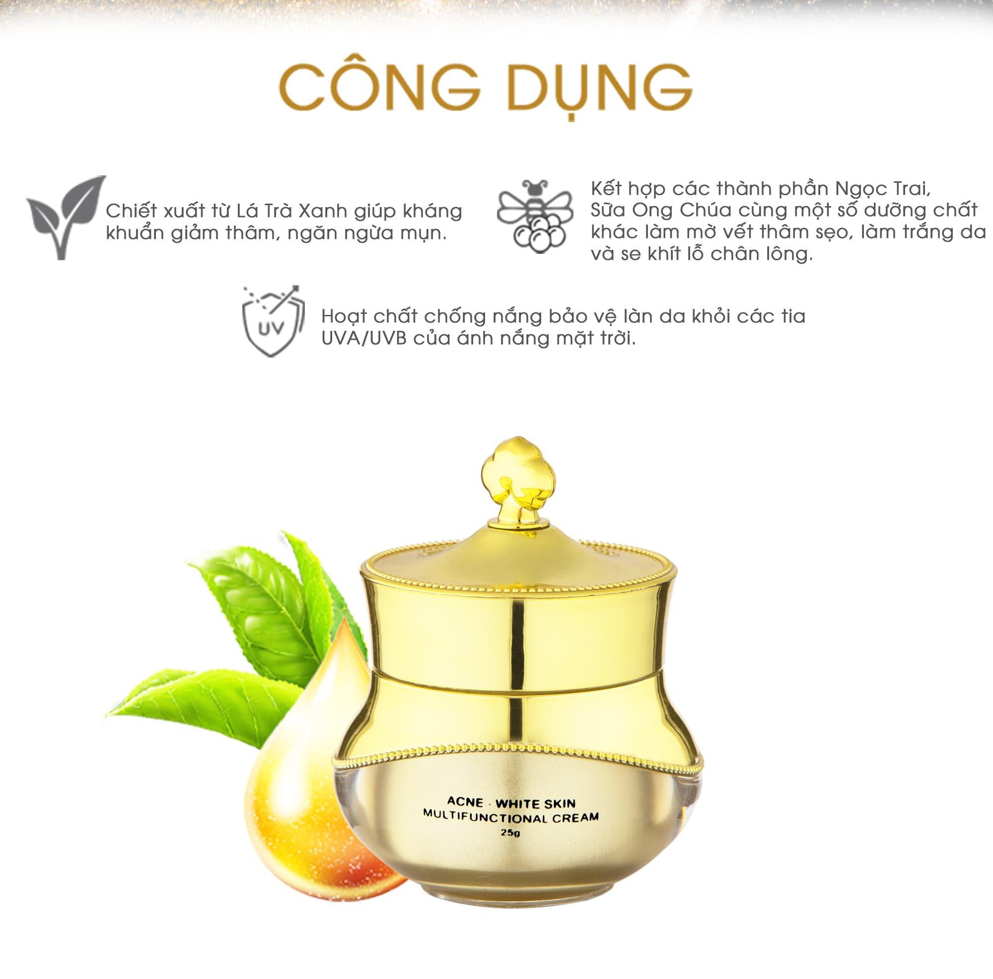 Bộ 3 sản phẩm Trắng Da Ngừa mụn KN Beauty chuyên sâu:Kem dưỡng 25g + Serum 30ml+ Tẩy tế bào chết 120ml - Tặng 2 Mặt nạ