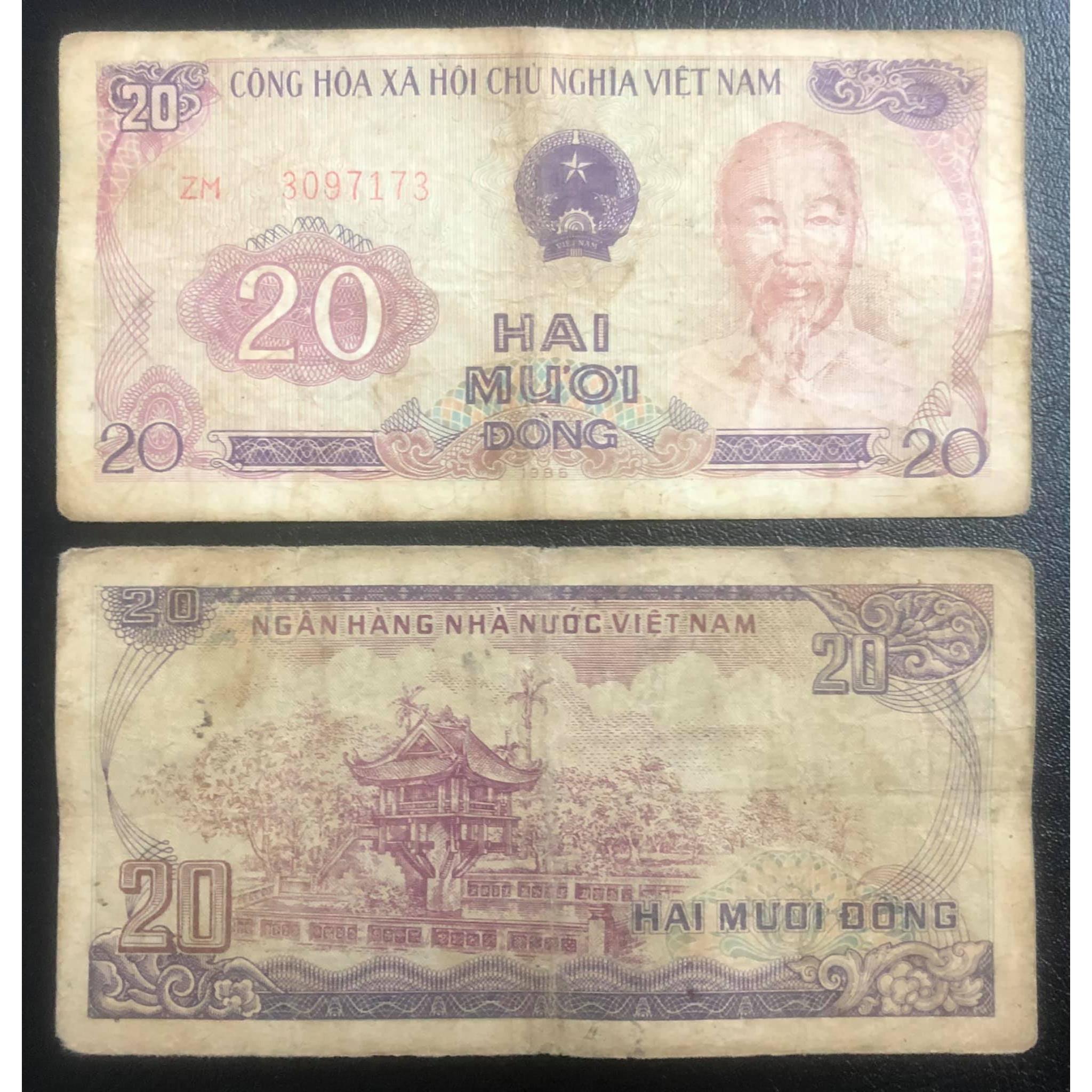 Tờ 20 đồng 1985 chùa Một Cột ở Hà Nội, tiền xưa bao cấp sưu tầm