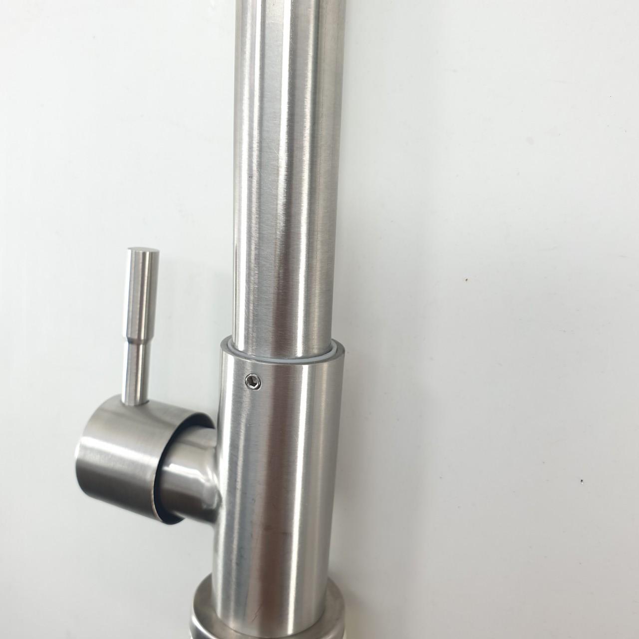Vòi Rửa Chén Bát Lạnh phi 24mm inox SUS 304 HIẾU CHÂU A865, xước mờ ống cong lớn