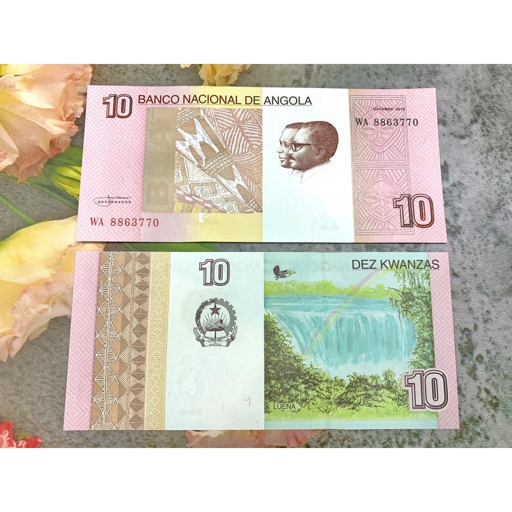 Tiền cổ Angola 10 Kwanzas sưu tầm , tiền quốc gia châu Phi , mới 100% UNC, tặng túi nilon bảo quản
