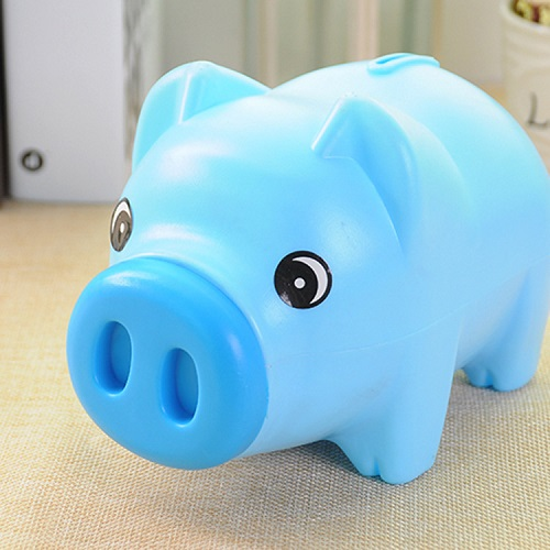 Ống heo mini tiết kiệm tiền cho bé, chất liệu nhựa, cứng cáp và an toàn cho bé 19x11x10 cm, nhiều màu, chọn màu tùy ý+ TẶng hình dán ngẫu nhiên