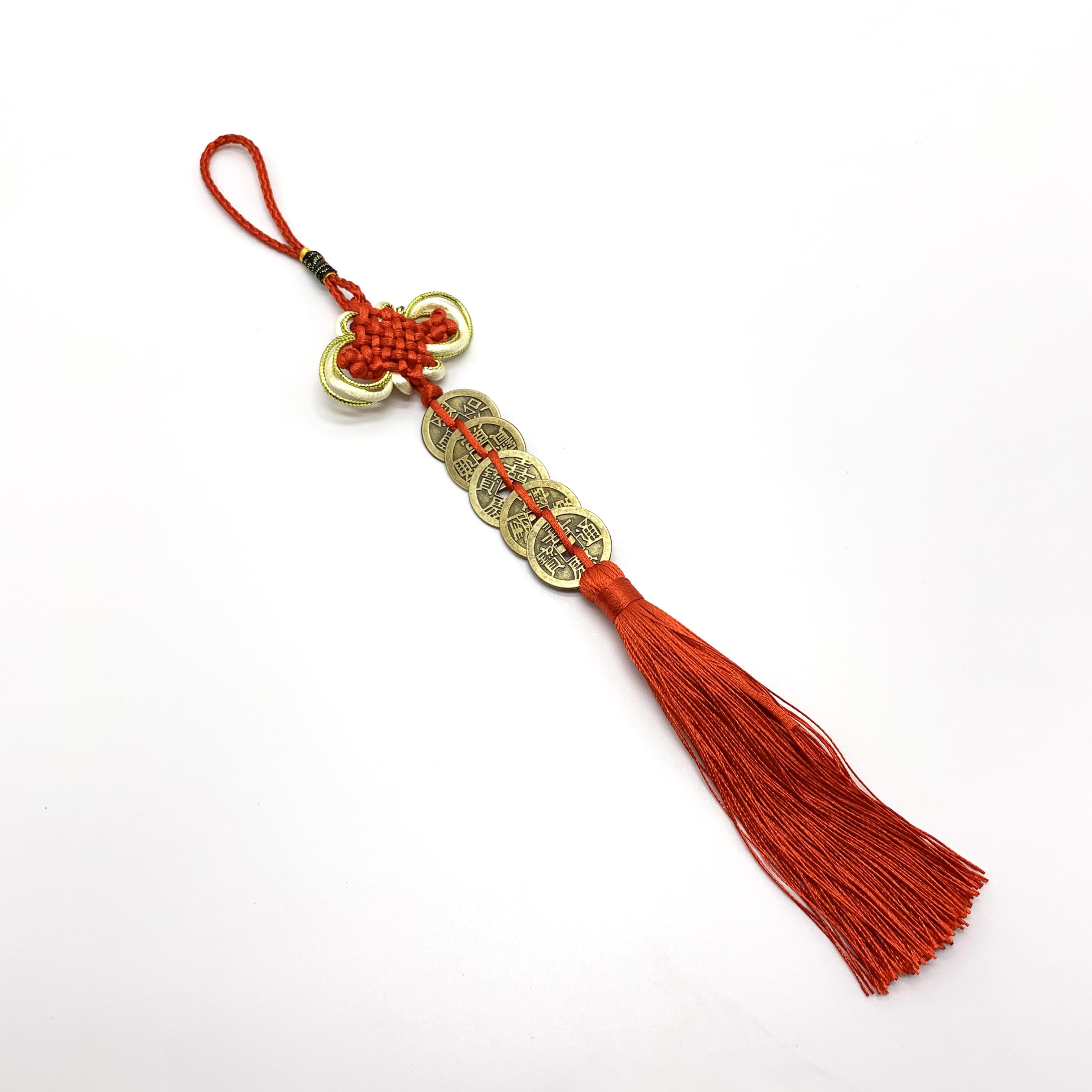 Gương bát quái phong thủy mang may mắn đến cho mọi nhà - Tặng dây treo đồng xu cổ