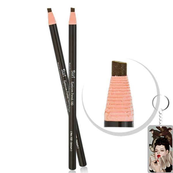 Chì mày xé Suri Eyebrow Pencil Hàn Quốc No.102 Brown tặng kèm móc khoá