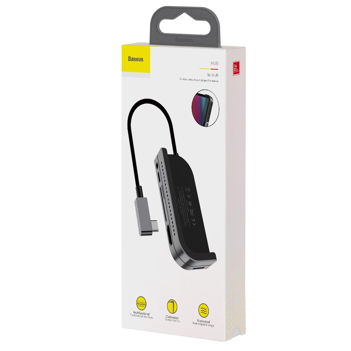 Bộ chuyển đổi HUB thông minh Baseus Bend Angle No.7 Multifunctional Type C to USB3.0/HDMI/SD/Micro SD/Audio 3.5mm+C PD, Extended InterfacesHub Dark gray - CAHUB-WJ0G - Hàng Chính Hãng