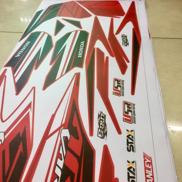 Tem dán dành cho xe máy Vario 2018 Rời xe đỏ mẫu thể thao
