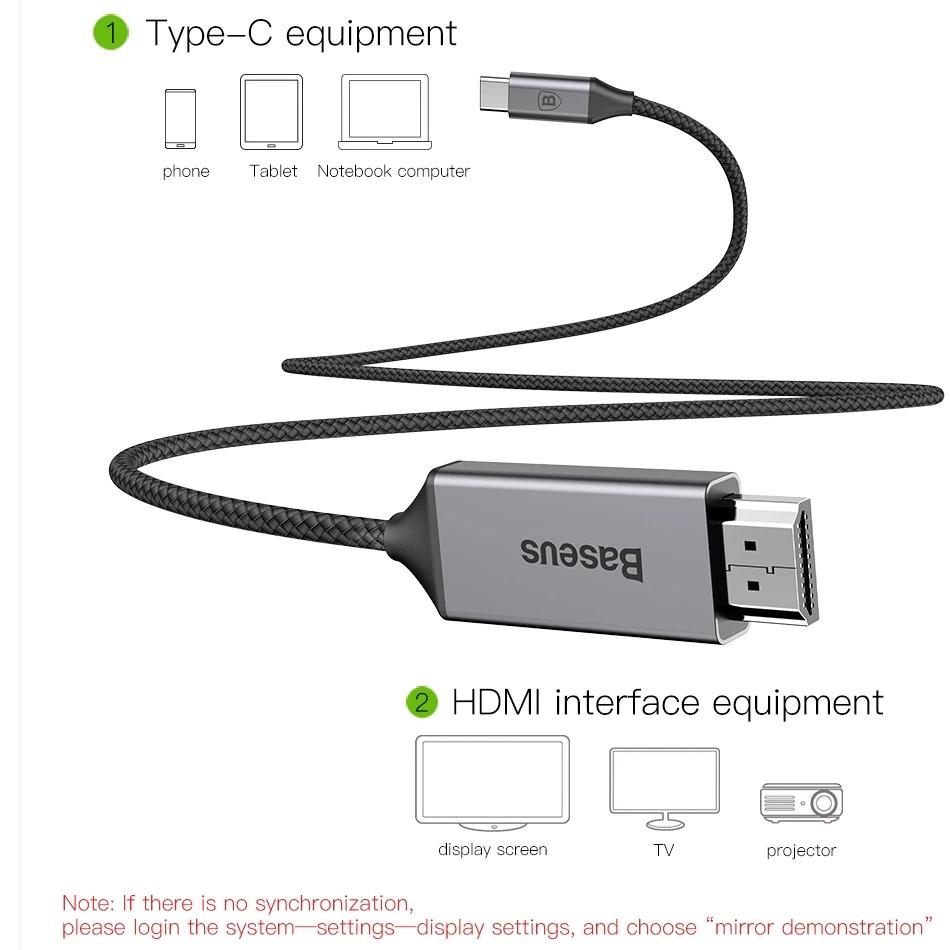 Cáp chuyển USB Type C sang HDMI Baseus hỗ trợ xuất Video 4K - 60Hz từ Smartphone ra TV (1.8m) - Hàng chính hãng