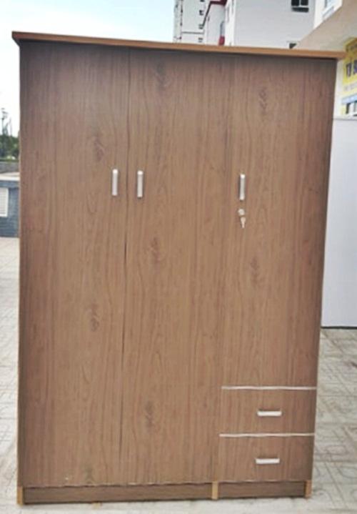 Tủ nhựa đài loan 3 cánh 2 ngăn kéo màu vân gỗ đỏ
