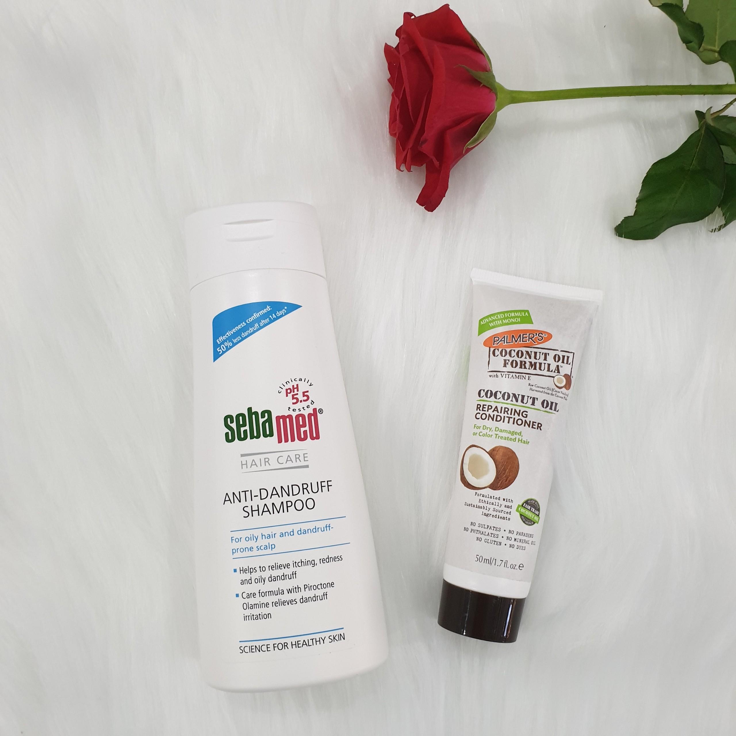 Dầu gội làm giàm gàu, giảm ngứa da đầu Sebamed pH5.5 Anti-Dandruff Shampoo 200ml + Tặng ngay 1 tuýp dầu xã dưỡng tóc mềm mượt từ dừa Palmer's 50ml Size du lịch
