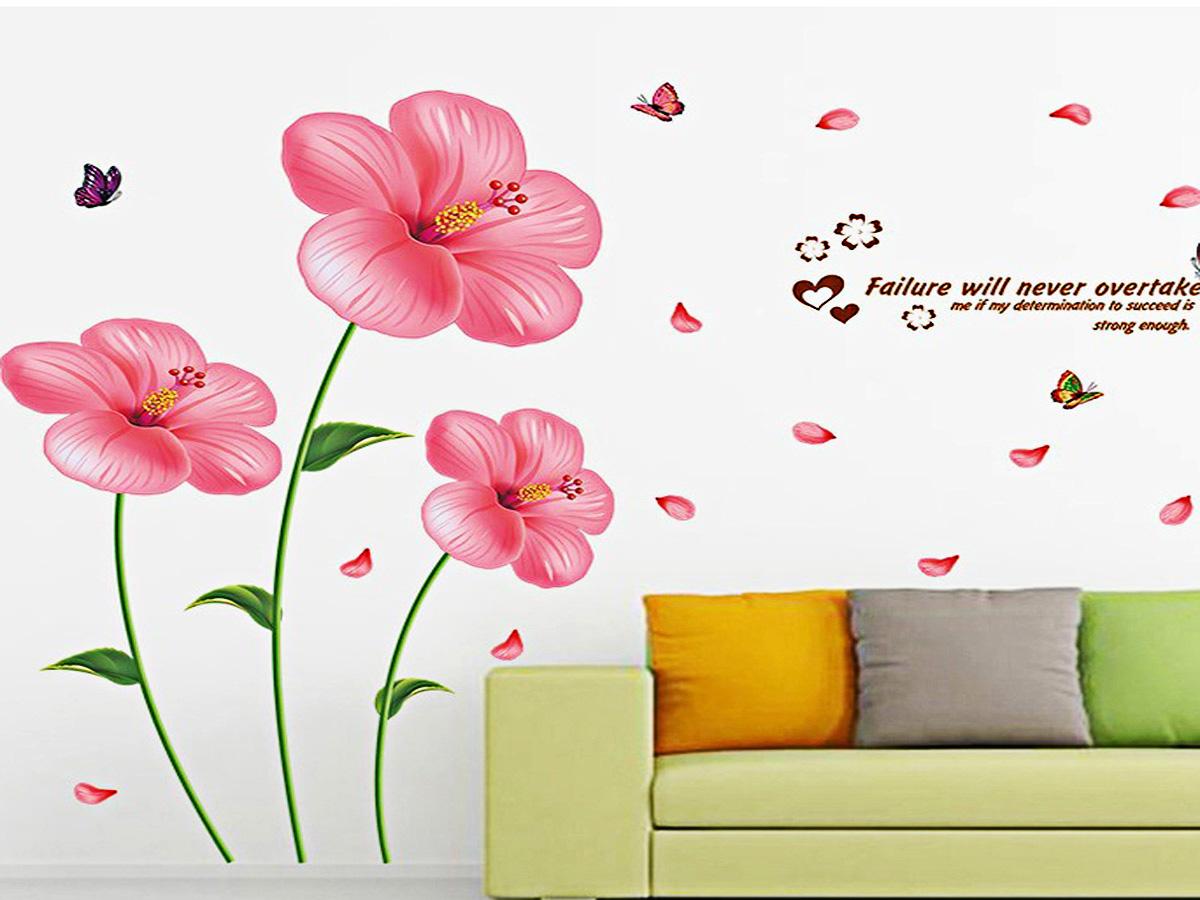 decal dán tường hoa râm bụt hồng xl8175